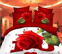 Free Shipping 3d oil painting bedding set Red Rose bedding sets without filler/bedset cotton/duvet cover set bed sheet !  A