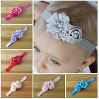 2014 Infant flower baby headband 12 colors Baby pearl lace hairband Toddler Baby girls Felt Flower headbands 30pcs/lot
