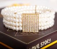 Hot-selling Fashion decoration waist closure Ms elastic belt Pearl waist chain