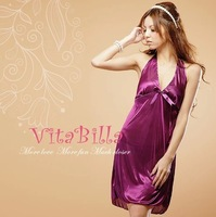 FREE SHIPPING!!! Brilliant purple charming Sexy Satin female underwear nightwear suit noble temptation