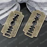 60 pcs/lot Zinc alloy bead Antique Bronze Plated Charms Pendants Fit Jewelry 37*19MM Blade Shape JJA1832