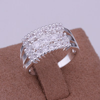 Free shipping , wholesale fashion jewelry 925 sterling silver jewelry  Three rows of stone ring LKNSPCR143