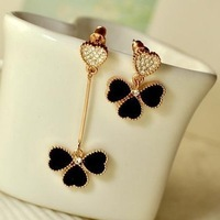 free shipping 2014 new style long and short shamrock stud earrings