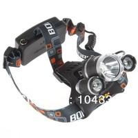 3pcs/lot NEWEST HEADLAMP! 3x CREE XM-L XML T6 LED 5000Lm Rechargeable Headlamp Headlight Head lamp