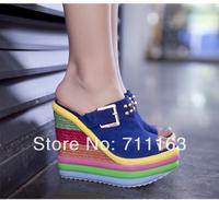 2014 New women platform high heel sandals genuine leather Wedges slippers platform pump sandals women shoes Free shipping