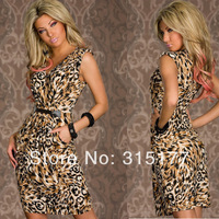 Free shipping Khaki Leopard Print Vintage Dress Wholesale 10pc/lot  2014 Newest cheap  Party Dress 6267