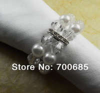 pearl crystal  napkin rings,  flower napkin ring,  beaded wedding  napkin ring, napkin holder, acrylic napkin ring
