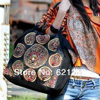 Women's handbag bag miaoxiu trend personality national handmade bag beading one shoulder embroidered canvas bag bodhi