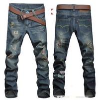Beggar pants roll up hem clot male straight jeans cotton hole 100% macrobian splash-ink
