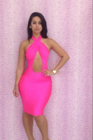 The New Europe And America Sexy Dress Hanging Neck Piece 5 Color 3 Yards Nightclub Tight Skirt