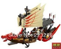 Retail Ninjago Large Dragon Boat Building Block Sets 680pcs Educational Jigsaw Construction Bricks toys for children free ship