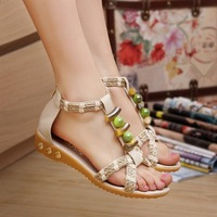 Rustic 2014 gentlewomen bohemia straw braid flat sandals summer flat heel women's shoes size 35-40