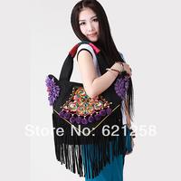 New Arrival! National trend embroidered bag, handmade floccular handbag, canvas bag flower lotus leaf laciness
