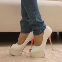 Vintage women's sexy high-heeled shoes platform high-heeled shoes open toe thin high-heeled shoe heels single shoes female shoes