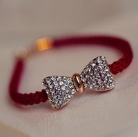 free shipping red belt lovely shiny crystal inset bowknot bracelet