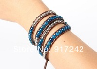 Natural Blue Dragon agate bracelet braided leather bracelet wrapped simulation