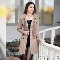 New 2014 fashion women's double breasted trench coat slim long style jacket spring coat with scarf women's clothing M-3XL size