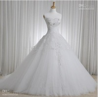 New Hot Elegant Bridal Gown V-neck Long Sleeve A-line Appliques Cathedral Wedding Dresses 2014