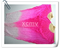 PAIRS  BELLY DANCE  FAN VEILS 100% NATURAL 5mm SILK  hand-dyed Pink to  White(L&R)