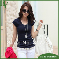 T-183 New Arrival 2014 Korean Shirt Female Short Sleeve Women's Cotton T-Shirts