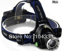 Free shipping 50pcs/lot 1800LM Lumen CREE XML XM-L T6 LED Zoomable Headlamp Headlight Torch Flashlight Rechargeable