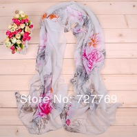 2014 newest elegant peony painting printed faux silk scarf for ladies(10pcs/lot) w/4 colors