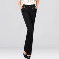 Ietls spring high waist pants trousers flare trousers plus size casual elastic pants
