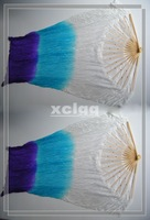 PAIRS  BELLY DANCE  FAN VEILS 100% NATURAL 5mm SILK  hand-dyed White to Blue to Purple (L&R)