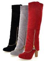 Women's Boots 2014 Autumn winter New fashion ladies sexy Knee high boots high-leg zipper long boots 34-43 Free shipping XWX003