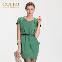 2014 spring short-sleeve v-neck fashion dress OL outfit elegant slim hip female