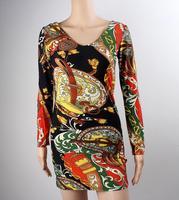 Sexy Plus Size  Print Floral mini bodycon long sleeve women party elegant evening casual new fashion club wear winter 2014 dress