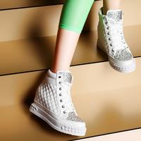 2014 women's spring casual shoes rhinestone platform shoes wedges high skateboarding shoes 78b90-5