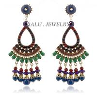 2014 New European and USA Fashion Bohemian Style Handmade Beaded Tassel Pendant Earrings Jewelry Rhinestone Bubble ER098