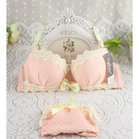 Japanese girl student pastoral style cotton lace chiffon cute small chest gather Bra Set