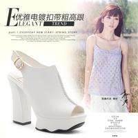 Moolecole spring ultra high heels thick heel sandals female platform open toe sweet women's shoes