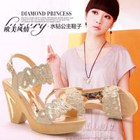 Moolecole sweet princess sandals wedges platform high heeled open toe button women's shoes