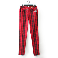 Women's all-match plaid mid micro elastic waist slim casual pencil long trousers