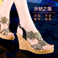 Moolecole summer wedges sandals platform comfortable high-heeled rhinestone flower princess women's shoes