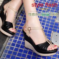 Fashion moolecole summer genuine leather wedges sandals platform T rhinestone women's shoes