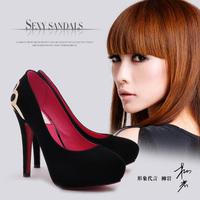 2014 spring princess single shoes wedding shoes platform round toe high heels ultra thin women's low heels shoes