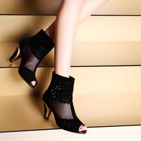 Moolecole 2014 spring sandals female ultra high platform heels gauze women's genuine leather shoes