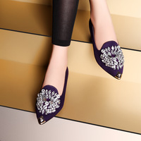 2014 spring princess single shoes rhinestone flat heel pointed toe shallow mouth foot wrapping women's low casual shoes