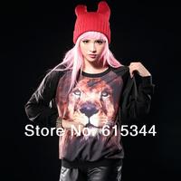 2014 new fashion women 3D lion head animal pattern 3D print sweatshirt loose O-neck pullovers long sleeved T shirt tops
