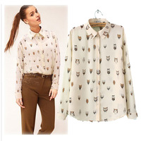 Spring 2014 women's owl shirt animal patterns graphic print loose chiffon shirt slim+free shipping