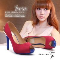 Moolecole spring open toe platform thin heels shoes ultra high heels shoes women's navy blue