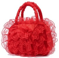 2014 bridal  marriage wedding supplies bag pregnantwith handbag red lace women's handbags cosmetic