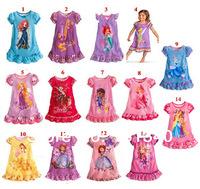 2014 New Baby Gilrs Pajamas/Baby Cartoon Summer Pyjamas Children Nightgown/Kids Sleepwears Night Dress NO-006