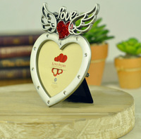 "New Arrival - Pewter Photo Frame (3 x 2"") Heart shaped with Stones Wedding Gift Artcraft Free Shipping"