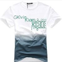 2014 Fashion Knitted O-neck Short Hot Sale Camisetas Masculinas T-shirt Men Moleton Shirts Slim Multicolor Letter Print Cotton