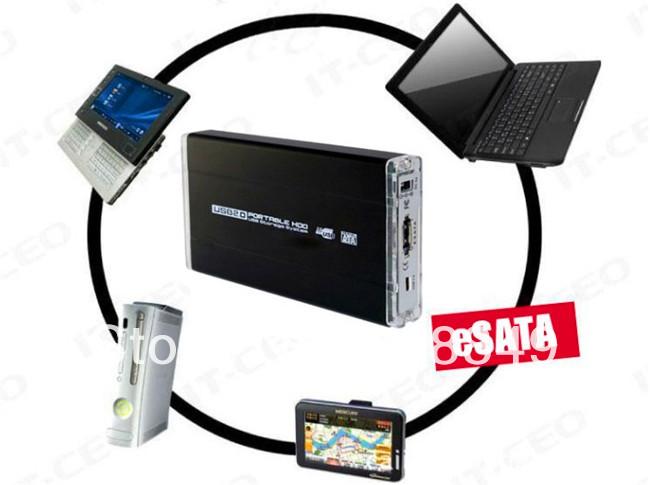 """30set/lot New USB 2.0 2.5"""" eSATA External HDD Hard Disk Drive Enclosure Case Data Box free shipping(China (Mainland))"""